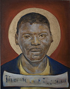 African American Ceramics Metal Prints - Portrait of a Saint IV Metal Print by Sharon Norwood