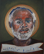Man Ceramics Metal Prints - Portrait of a Saint V Metal Print by Sharon Norwood