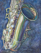 Saxophones Framed Prints - Portrait of a Sax Framed Print by Jenny Armitage