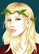 Elf Drawings - Portrait of a She Elf by Danielle R T Haney