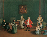 Portrait Of A Venetian Family Print by Pietro Longhi