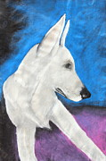 White Pastels Metal Prints - Portrait Of A White Shepherd Metal Print by Jeanne Fischer