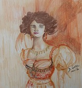 Vintage Pastels Originals - Portrait Of A Woman 1900s by Deborah Gorga