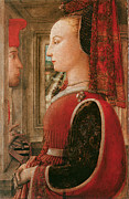 Portrait Of Woman Framed Prints - Portrait of a Woman and a Man at a Casement Framed Print by Fra Pilippo Lippi