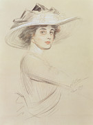 Hat Pastels Framed Prints - Portrait of a Woman Framed Print by  Paul Cesar Helleu