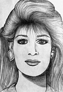 Portrait Of A Woman Pencil Drawing Print by Karon Melillo DeVega