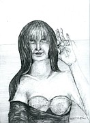 Swimmer Drawings - Portrait of a Woman Who Wanted Her Picture Taken by Joseph Wetzel