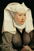 Rogier Van Der Weyden Posters - Portrait of a Woman with a Winged Bonnet Poster by Rogier van der Weyden