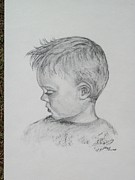 Angelic Drawings - Portrait of a Young Boy by Paula Rountree Bischoff