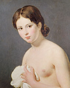 Topless Paintings - Portrait of a young girl by Jacques Louis David