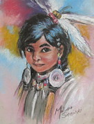 Indian Maiden Paintings - Portrait of a Young Indian Girl by Melinda Saminski