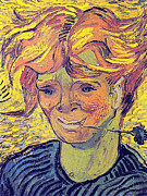 Young Man Prints - Portrait of a Young Man With Cornflower Print by Vincent Van Gogh