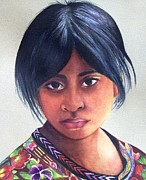 Mayan Paintings - Portrait of a Young Mayan Girl by Susan Santiago