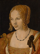 Portrait Of Woman Framed Prints - Portrait of a Young Venetian Woman Framed Print by Albrecht Durer