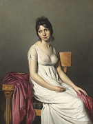 Three-quarter Length Painting Framed Prints - Portrait of a Young Woman in White Framed Print by Jacques Louis David