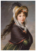 Marie Louise Framed Prints - Portrait of a Young Woman Framed Print by Marie Louise Elisabeth Vigee-Le Brun