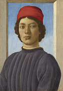 Prints Of Fashion Posters - Portrait of a Youth Poster by  Filippino Lippi