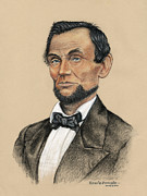 Black Tie Drawings Framed Prints - Portrait of Abraham Lincoln 1860 Framed Print by David Zamudio