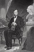 Pensive Drawings Posters - Portrait of Abraham Lincoln Poster by Alonzo Chappel