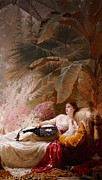 Chaise Painting Framed Prints - Portrait of Adelaide Maria Guiness reclining on a sofa in a conservatory Framed Print by George Elgar Hicks