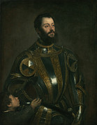 Titian Framed Prints - Portrait of Alfonso d Avalos Marquis of Vasto in Armor with a Page Framed Print by Titian