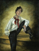 Original Oil Portrait Posters - Portrait of Amedeo Modigliani Poster by Cecilia  Brendel