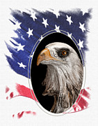 Eagle Framed Prints - Portrait of America Framed Print by Tom Mc Nemar