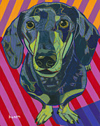 Gray Painting Posters - Portrait of Arthur The Miniature Dachshund Poster by David  Hearn
