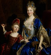 Money Painting Prints - Portrait of Catherine Coustard Print by Nicolas de Largilliere