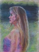 Profile Pastels Metal Prints - Portrait of Celeste Metal Print by Anita Dale Livaditis