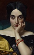 Allure Painting Prints - Portrait of Clementine Print by Henri Lehmann