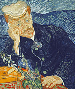 Moustache Prints - Portrait of Dr Gachet Print by Vincent Van Gogh