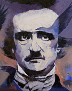 Surrealistic Painting Prints - Portrait of Edgar Allan Poe Print by Michael Creese