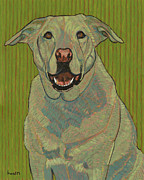 Black Painting Posters - Portrait of Emma The Yellow Lab Poster by David  Hearn