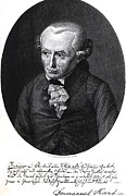 Signed Drawings Posters - Portrait of Emmanuel Kant  Poster by German School