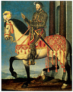Francis Prints - Portrait of Francis I on Horseback Print by Francios Clouet