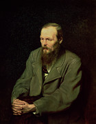 Green Jacket Framed Prints - Portrait of Fyodor Dostoyevsky Framed Print by Vasili Grigorevich Perov