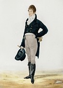 Breeches Framed Prints - Portrait of George Beau Brummell Framed Print by Robert Dighton