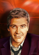 Clooney Framed Prints - portrait of George Clooney Framed Print by Christian Simonian