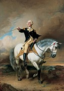 Horseback Riding Framed Prints - Portrait of George Washington Taking The Salute At Trenton Framed Print by John Faed