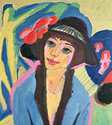 Die Brucke Framed Prints - Portrait of Gerda Framed Print by Ernst Ludwig Kirchner