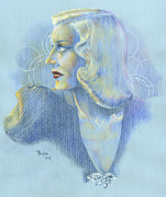 Star Drawings Posters - Portrait of Ginger Rogers Poster by Paul Petro