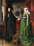 Husband And Wife Posters - Portrait of Giovanni Arnolfini and His Wife Poster by Jan Van Eyck
