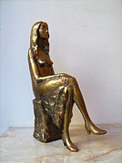 Statue Portrait Sculpture Metal Prints - Portrait of girl Metal Print by Nikola Litchkov