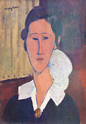 Amedeo Photo Framed Prints - Portrait of Hanka Zborovska by Amedeo Modigliani Framed Print by Stefano Baldini