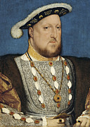 Medieval Paintings - Portrait of Henry VIII King of England by Hans Holbein the Younger
