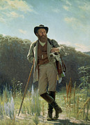 Hiker Paintings - Portrait of Ivan Ivanovich Shishkin by Ivan Nikolaevich Kramskoy