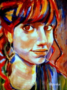 Faces Paintings - Portrait of Ivana by Helena Wierzbicki