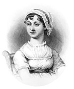 Characters Drawings Posters - Portrait of Jane Austen Poster by English School