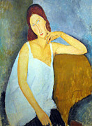 Amedeo Modigliani Framed Prints - Portrait of Jeanne Hebuterne Framed Print by Amedeo Modigliani